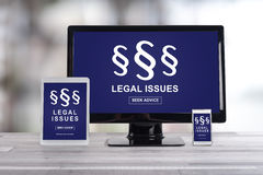 Legal issues concept on different devices Royalty Free Stock Image