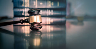 Legal law concept image. Gavel on book stock photography