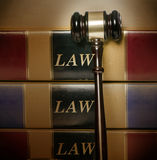 Legal law concept image. Gavel books closeup Royalty Free Stock Photography