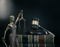 Legal law concept image. Gavel with computer screen background financial figures background Stock Photos