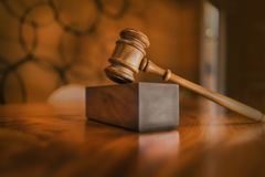 Legal law concept image. Gavel in jurors room royalty free stock photography
