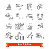 Legal, law, court and police icons thin line set Stock Photos