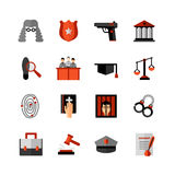 Legal Law Flat Icons Set Stock Photography