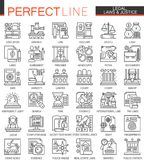 Legal, law and justice outline mini concept symbols. Modern stroke linear style illustrations set. Perfect thin line. Icons vector illustration