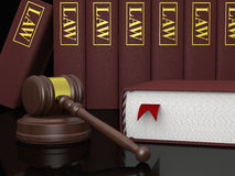 Legal literature. Gavel and law books, symbols of law and legal literature Stock Images