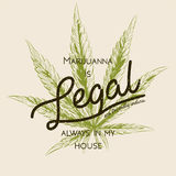 Legal marijuana, weed cannabis green leaf retro logo, T- shirt design. Indica label. Medicine plant legalization product square po. Ster label. Marijuanna is Stock Images