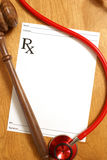 Legal Medicine. A few items to focus attention on medicine and law Stock Images