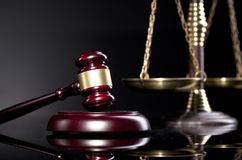 Legal office items, judge`s gavel and scale of justice Stock Image