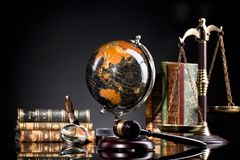 Legal office items, judge`s gavel and scale of justice Royalty Free Stock Image
