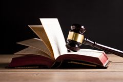 Judge`s gavel and law books.Trial. Law and justice concept. Stock Photography