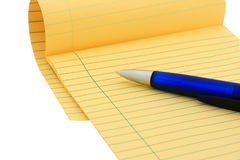 Legal pad (clipping path). Legal pad and blue pen on white (clipping path included Royalty Free Stock Photography