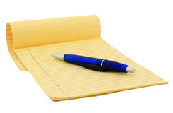 Legal pad (clipping path). Legal pad and blue pen on white (clipping path included Stock Images