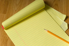Legal Pad and Pencil Royalty Free Stock Photo