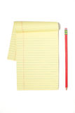 Legal Pad With Red Pencil Stock Images