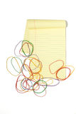 Legal Pad with rubberbands Stock Image