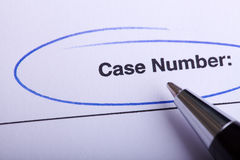 Legal Paperwork Form. Showing case number with pen Stock Image