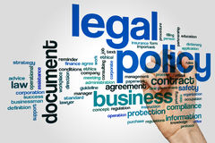 Legal policy word cloud. Concept on grey background Royalty Free Stock Photo