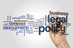 Legal policy word cloud. Concept on grey background Stock Image