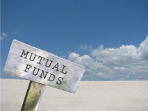 Legal series. Mutual funds sign with clouds and skyline background Stock Image