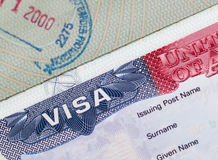 Legal series. United States VISA in a european passport with stamp Stock Photography