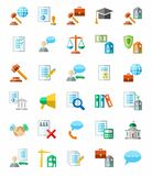 Legal services, colored icons, white background. Stock Images