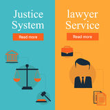Legal services, law and order, justice  flat concept set. Honest judge, justice system, crime investigation, lawyer service Stock Photos