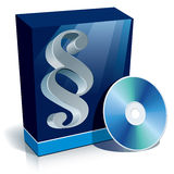 Legal software. Box with paragraph character and CD