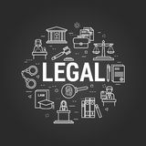 Legal System on black. Vector round web banner of judiciary service. Modern thin line icons on a black chalkboard. Big white letters LEGAL and icons of scales Stock Image