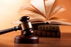 Gavel and Books. Legal system closeup isolated books gavel legal books law books Royalty Free Stock Photo