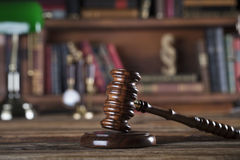 Legal system. Law and justice concept. Gavel of the jugde  in the lawyer library Stock Image