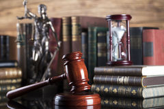 Legal system. Law and justice concept. Gavel of the jugde and scale of justice in the court library Stock Image