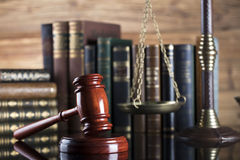 Legal system. Law and justice concept. Gavel of the jugde and scale of justice   in the court library Royalty Free Stock Images