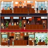 Legal trial concept vector flat poster set. Vector set of legal trial scenes with judge, jury, lawyers questioning witness, security guard, defendant, woman Stock Photo