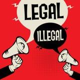 Legal versus Illegal vector illustration