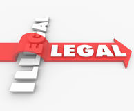 Legal Vs Illegal Law Red Arrow Over Word Guilty or Innocent Stock Image