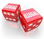 Legal-Vs-Illegal-Roll-Dice-Take-Chance-Law-Trial-Justice. Legal and Illegal words on two red dice to illustrate taking your chances on law and regulation issues vector illustration