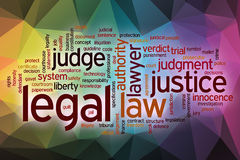 Legal word cloud with abstract background Stock Photos