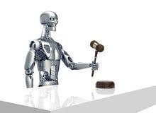 Legales Computerrichterkonzept, Roboter mit Hammer, Illustration 3D Lizenzfreie Stockfotos