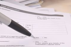 Legales Schreibarbeits-Formular Lizenzfreie Stockbilder