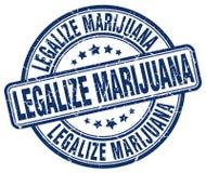 legalice el sello azul de la marijuana stock de ilustración