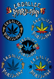 Legaliseer het ontwerp grungy zegels van de marihuanacannabis Stock Foto's
