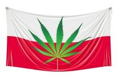 Legalisering av cannabis i Polen Polsk flagga med marijuana l stock illustrationer