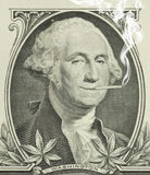Legalisiertes Marihuana George Washington mit Gelenk lizenzfreies stockfoto