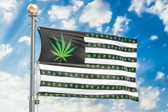 Legalization of cannabis in US concept. USA flag with marijuana Royalty Free Stock Image