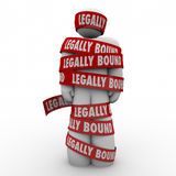 Legally Bound Man Wrapped in Tape Law Clause Prohibited Restrain Royalty Free Stock Image