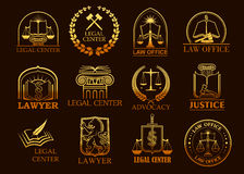 Legalne centrum lub prawnika wektorowe jurydyczne złociste ikony Obraz Stock