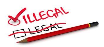 LEGALNY koryguje BEZPRAWNY Pojęcie zmieniać wniosek royalty ilustracja
