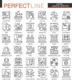 Legalny, prawo i sprawiedliwości, zarysowywa mini pojęcie symbole Nowożytnego uderzenia liniowe stylowe ilustracje ustawiać Perfe ilustracja wektor