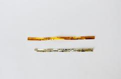 Legame di torsione dorato e d'argento su fondo bianco Fotografie Stock Libere da Diritti