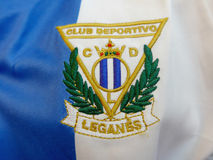Leganes soccer club patch sewed in blue and white tshirt Royalty Free Stock Photos